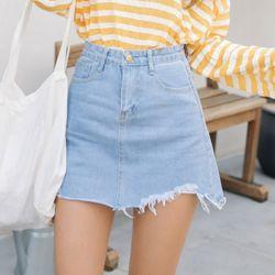 [로코식스] damage denim skirt스커트