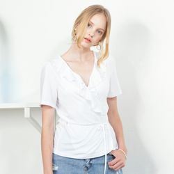 RUFFLE POINT WRAP TOP(WH)