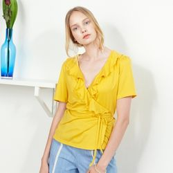 RUFFLE POINT WRAP TOP(YL)