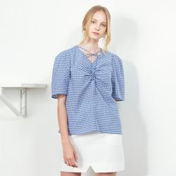 SHIRRING POINT HALF SLEEVE CHECK BLOUSE