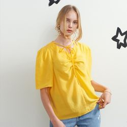 SHIRRING POINT HALF SLEEVE BLOUSE