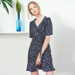 RUFFLE POINT PRINTED WRAP ONEPIECE(NA)