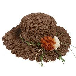 플라워 뜨개 밀짚 모자