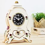 (kgse009 B)도자기 로즈 캐슬탁상시계