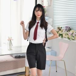 허리조절 스판 블랙 교복 반바지 여자