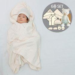 [무료배송/선물박스증정] 오가닉여아임신축하선물세트(의류5종+내친구곰인형)