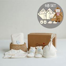 [무료배송/선물박스증정] 오가닉베이비샤워선물6종세트(의류5종+아기원숭이인형