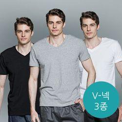 [에반크리스] 브이넥 숏슬리브 티셔츠 3종 세트
