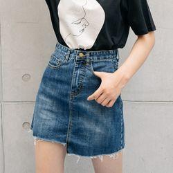 [로코식스] deep wa shing denim skirt스커트