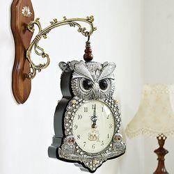 (kmkz0444)왕자부엉이 양면시계(티타늄실버)