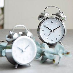 클린벨 크롬 저소음 자명종시계(소)