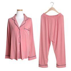 [쿠비카]도브 모달 파이핑 긴팔 투피스 여성잠옷 W200