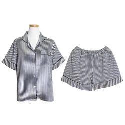 [쿠비카]스트라이프 카라형 투피스 여성잠옷 W206