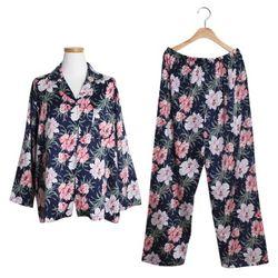 [쿠비카]빅 플라워 카라형 실키 투피스 여성잠옷 W214