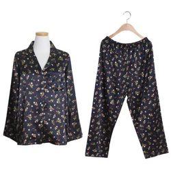 [쿠비카]들꽃 프린팅 카라형 투피스 여성잠옷 W215