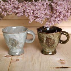 분청 나뭇잎 머그컵