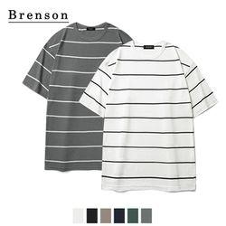 [1+1/무료배송] 루즈핏 핀스트라이프 사이드절개 티셔츠