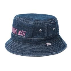 DRIZZLING WAVE EMBROIDERY BUCKET HAT-INDIGO