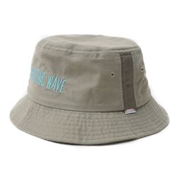 DRIZZLING WAVE EMBROIDERY BUCKET HAT-BEIGE