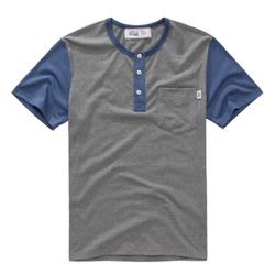 HENLEY NECK TEE-BLUEGREY