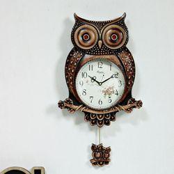 (kcp053)저소음 부엉이 추 시계 (브라운)