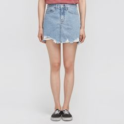 roughly cutting denim skirt