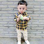 깅엄체크 포켓 유아 셔츠 T151
