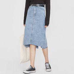 belt set H-line denim skirt