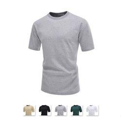 [쿨룩] 남성 스판 시보리 무지 반팔 티셔츠 CAS44
