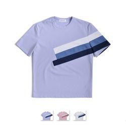 [쿨룩] 남성 컬러 블록 디자인 반팔 티셔츠 DMST11