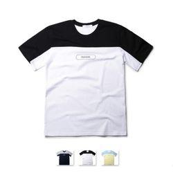 [쿨룩] 남성 배색 포인트 라운드 반팔 티셔츠 MZST68