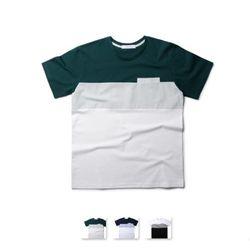 [쿨룩] 남성 배색 포켓 라운드 반팔 티셔츠 MZST72