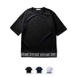 [쿨룩] 남성 오버 핏 영문 포인트 반팔 티셔츠 MZST74