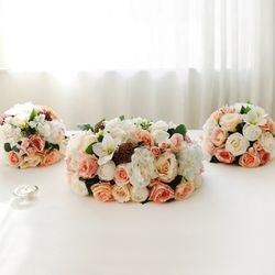 피치 로즈 꽃볼 센터피스세트