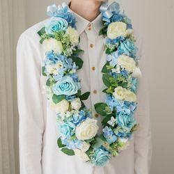 프리미엄 조화꽃목걸이 - 블루로즈 (중)