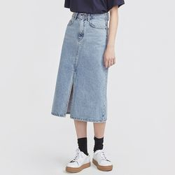 casual slit detail denim skirt
