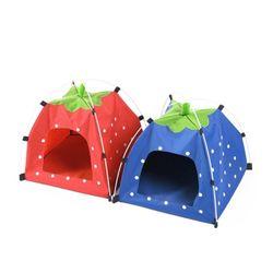 강아지 고양이 딸기 원터치 텐트