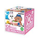 라인프렌즈 큐브 직소퍼즐 108조각 케이크 만들기