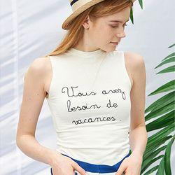 Slogan Sleeveless [White]