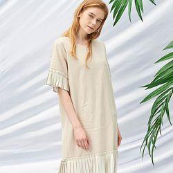 Pleats Dress [Beige]