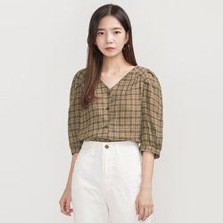 check puff V-neck blouse