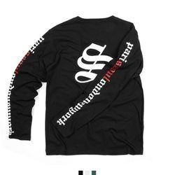 남자 티셔츠 소매 레터링 긴팔티셔츠