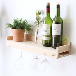 319. 와인잔걸이선반 - 삼나무 원목 진열 벽장식