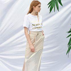 Belted Long Skirt [Beige]