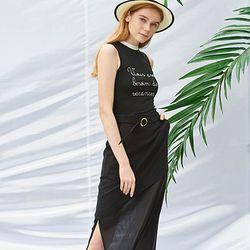 Belted Long Skirt [Black]