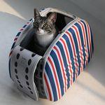 강아지 고양이 스트라이프 돔 캐리어 이동장