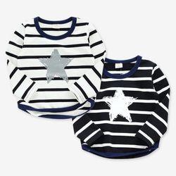 별 프린팅 스트라이프 유아 티셔츠 T155