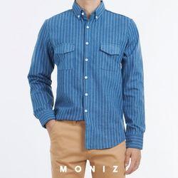스트라이프 투포켓 데님셔츠 (2color) SHT658