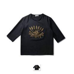 남성 포인트 디자인 7부 티셔츠 CET45