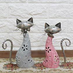 고양이 2P 블루앤핑크 SET 고양이장식품 인테리어소품